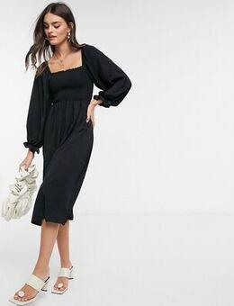 Shirred square neck midi dress in black