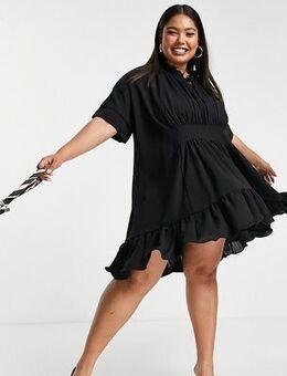 X Lorna Luxe cape step hem dress ruffle mini dress in black