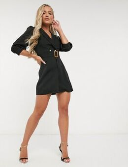 Puff sleeve blazer dress with belt detail in black