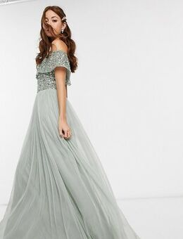 Bridesmaid bardot maxi tulle dress with tonal delicate sequins in sage green