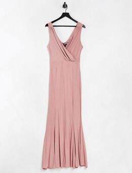 Plunge maxi dress with pink