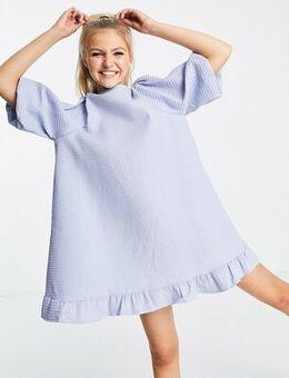 Puff sleeve shift dress in blue