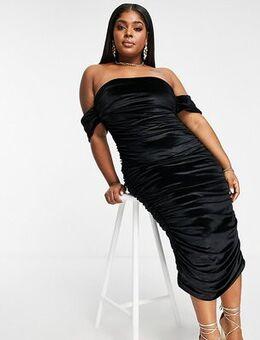 Velvet off shoulder midi dress in black