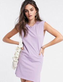 Padded shoulder dress in lilac-Purple