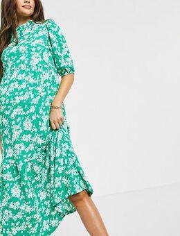 Crinkle tiered midi dress in green pattern