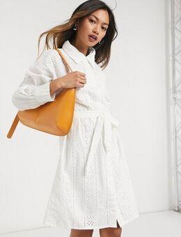 Broderie shirt dress-White