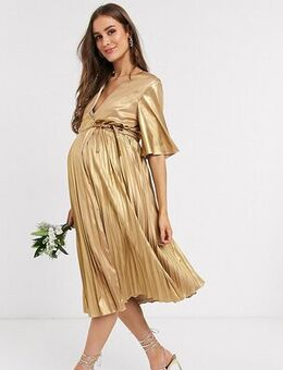 Wrap front pleated midi dress in gold