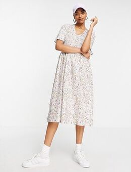 Organic cotton smock midi dress in white ditsy