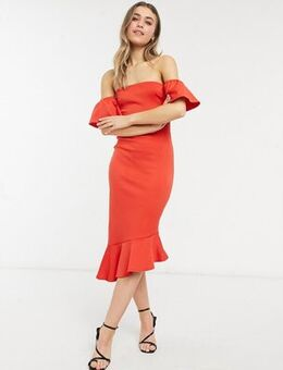 Bandeau midi dress with pephem in red