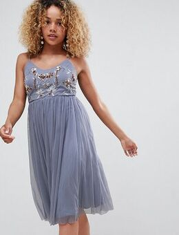 Embroidered tuelle dress-Grey