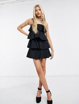 Tiered mini dress in black