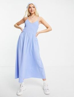 Cami shirred maxi dress in blue