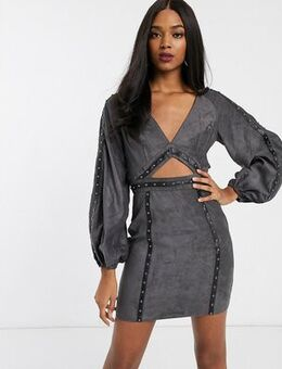 Suedette mini dress with cut out and stud detail-Grey