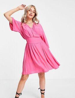 Kimono sleeve mini wrap dress in pink