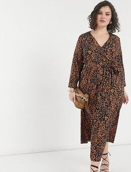 Midi wrap dress in animal print-Multi