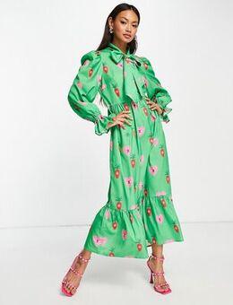 Heart print smock maxi dress in emerald green