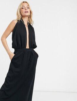 Midi dress with plunge neck in black