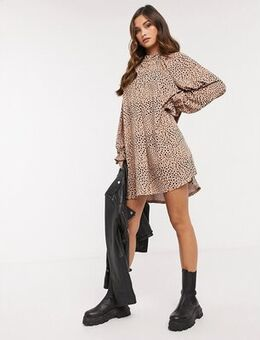 Mini dress with frill neck spot swing dress in camel and black spot-Brown