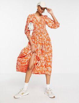 Midi smock dress in bright orange floral print