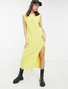 Sleeveless maxi knitted dress in yellow rib