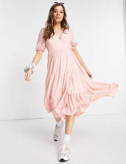 Yosse textured wrap midi dress in pink