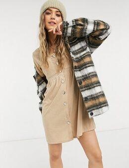 Inspired mini smock dress in stone cord-Neutral
