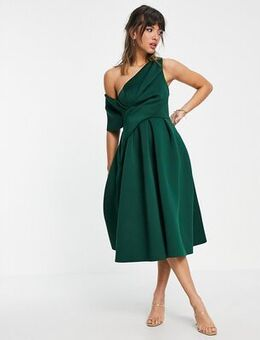 Bare shoulder prom midi dress in forest green