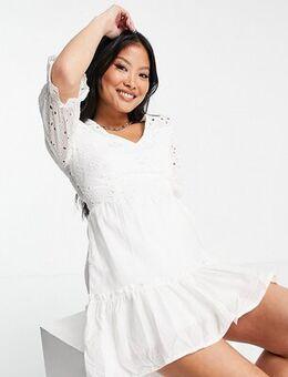 Broderie anglais long sleeve skater dress in white