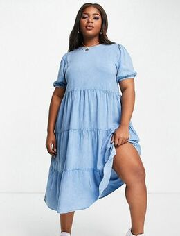 Tiered midi dress in chambray-Neutral