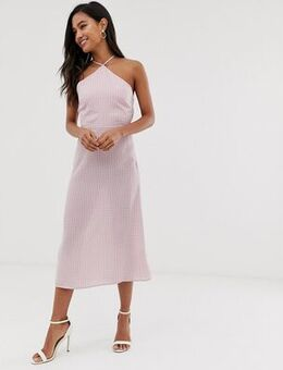Midi dress with high halter neck in gingham-Pink