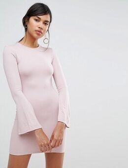 Split Long Sleeve Jersey Mini Dress-Pink