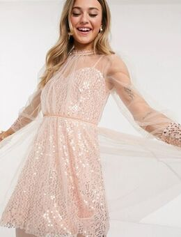 Sequin skater mini dress with mesh overlay in rose gold