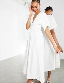 Pleat waist midi dress in white