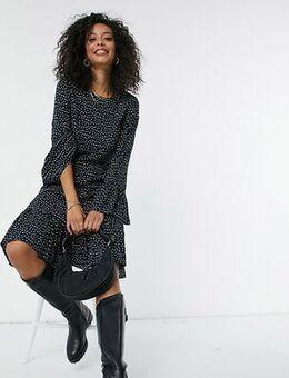 Y.A.S. Tall Jamila fluted sleeve midi dress in ditsy print-Multi