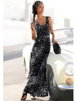 NU 21% KORTING: maxi-jurk met stippenprint