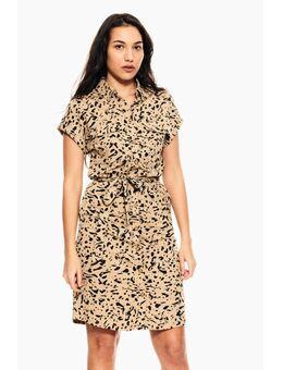 Jurk in a-lijn E10281 - 3556-tan met luipaardprint