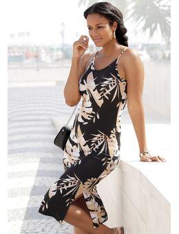 Midi-jurk met bladdessin