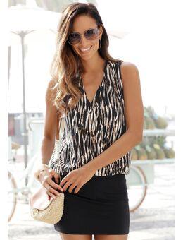 NU 20% KORTING: mini-jurk met gedessineerde top
