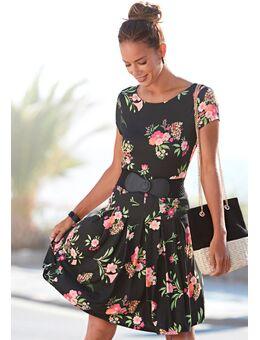 NU 21% KORTING: gedessineerde jurk met bloemmotief