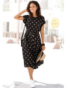 NU 20% KORTING: Midi-jurk met stippenprint (Met riem)