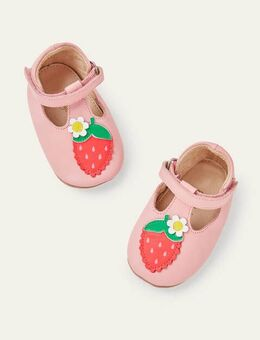 Fun Leather Baby Shoes Pink Baby Boden, Pink