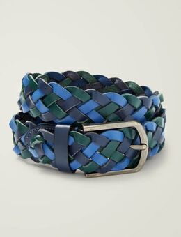 Leather Plaited Belt Blue Men , Blue