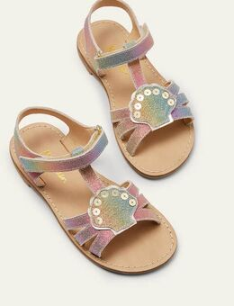Novelty Leather Sandals Rainbow Metallic Shell Boden, Rainbow Metallic Shell