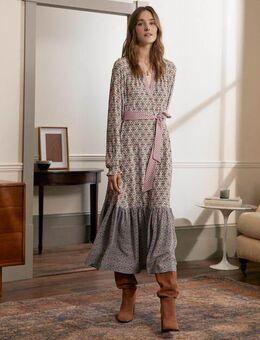 Tiered Hem Midi Dress Ivory, Mosaic Geo Women , Ivory, Mosaic Geo