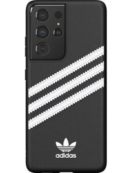Samsung Galaxy S21 Ultra Back Cover Leer Zwart/Wit