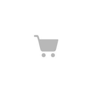 Vintage gitaarband zwart Breedte 2 cm. Lengte minimaal 136 cm. maximaal 152 cm. Met schouderpalet van 6 cm. X 27 cm