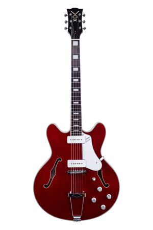 Bobcat V90 semi-hollow body semi-akoestische gitaar (cherry red)