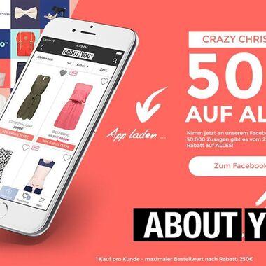 Onlineshop About You verspricht 50% Rabatt bei 50.000 Facebook-Teilnahmen am 25.12.2015 bei Ankäufen über die AboutYou App
